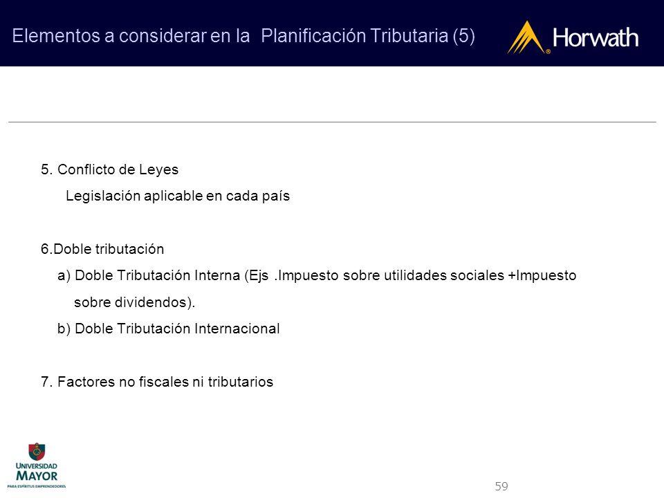 Elementos a considerar en la Planificación Tributaria (5)