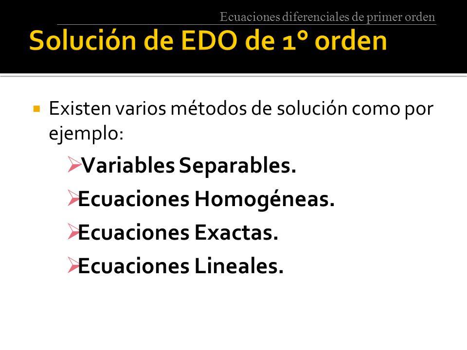 Solución de EDO de 1° orden