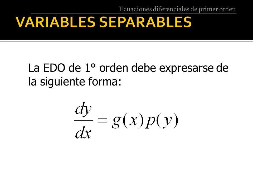 VARIABLES SEPARABLES La EDO de 1° orden debe expresarse de la siguiente forma: