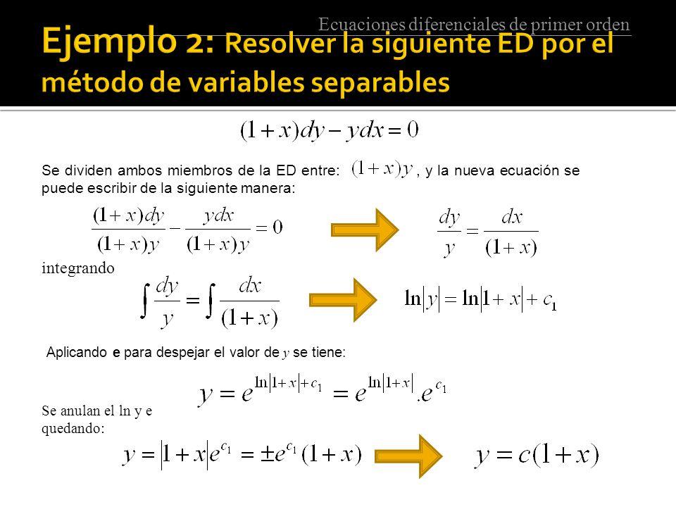 Ejemplo 2: Resolver la siguiente ED por el método de variables separables