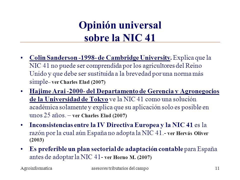 Opinión universal sobre la NIC 41