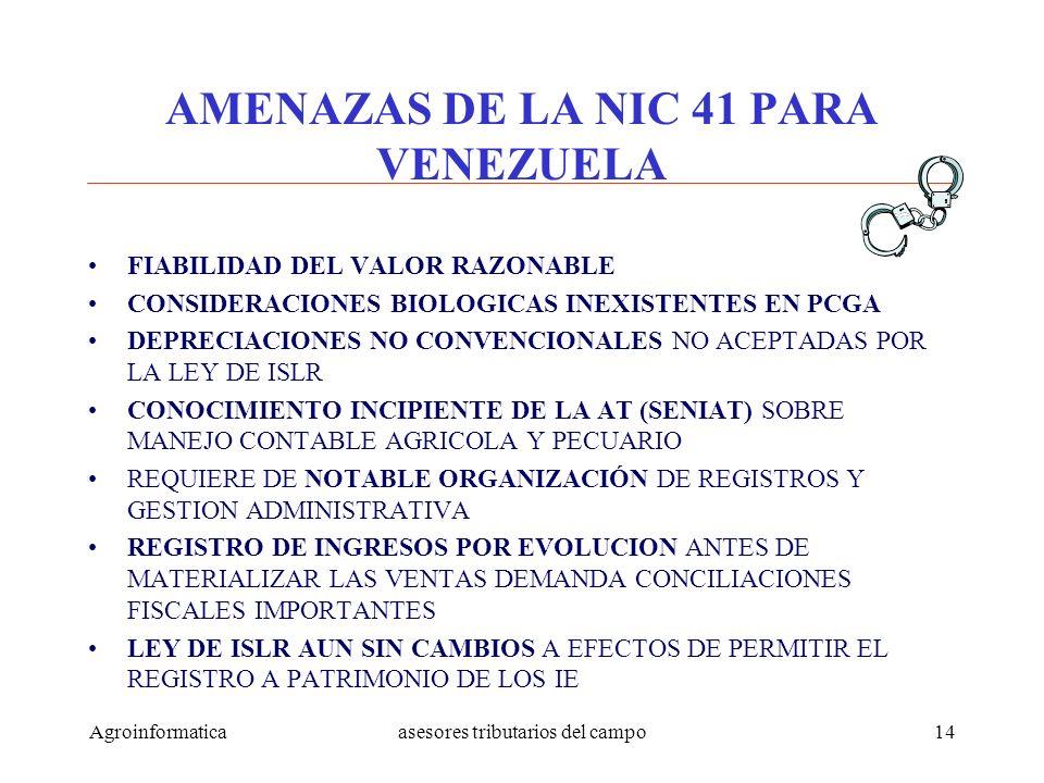 AMENAZAS DE LA NIC 41 PARA VENEZUELA