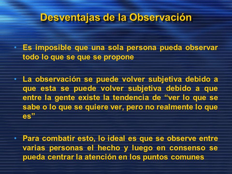 Desventajas de la Observación