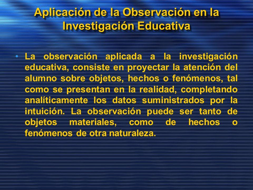 Aplicación de la Observación en la Investigación Educativa