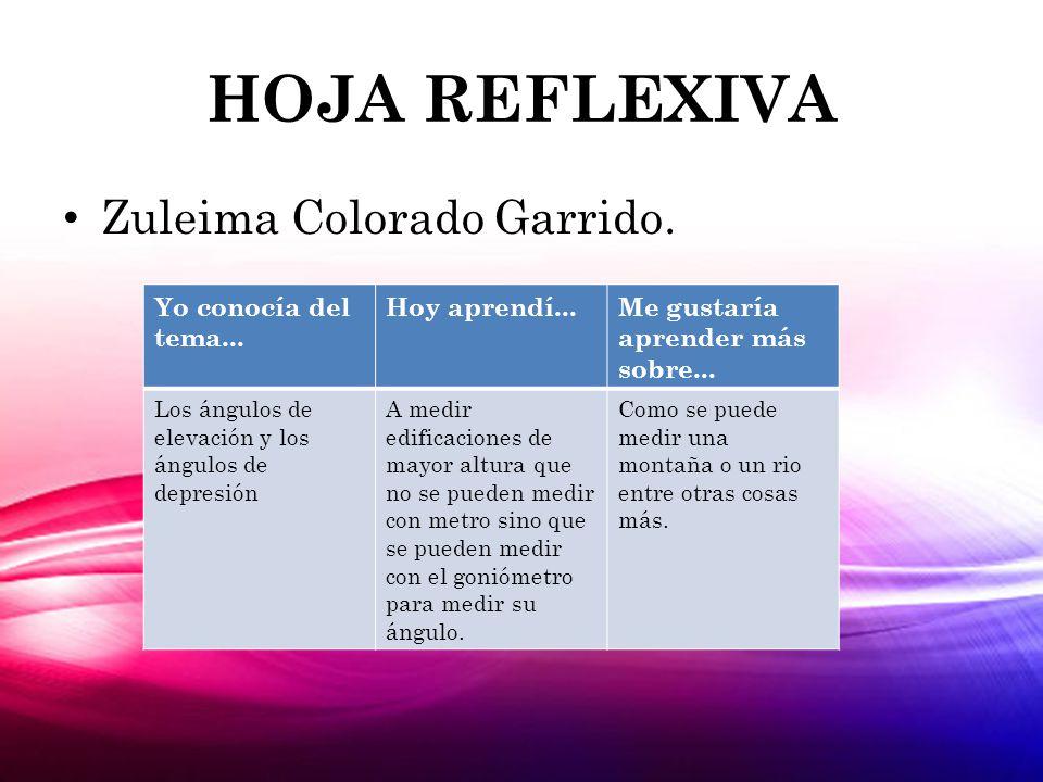 HOJA REFLEXIVA Zuleima Colorado Garrido. Yo conocía del tema...