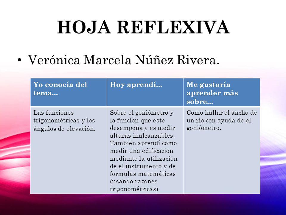 HOJA REFLEXIVA Verónica Marcela Núñez Rivera. Yo conocía del tema...