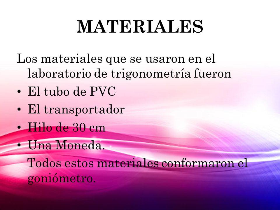 MATERIALES Los materiales que se usaron en el laboratorio de trigonometría fueron. El tubo de PVC.