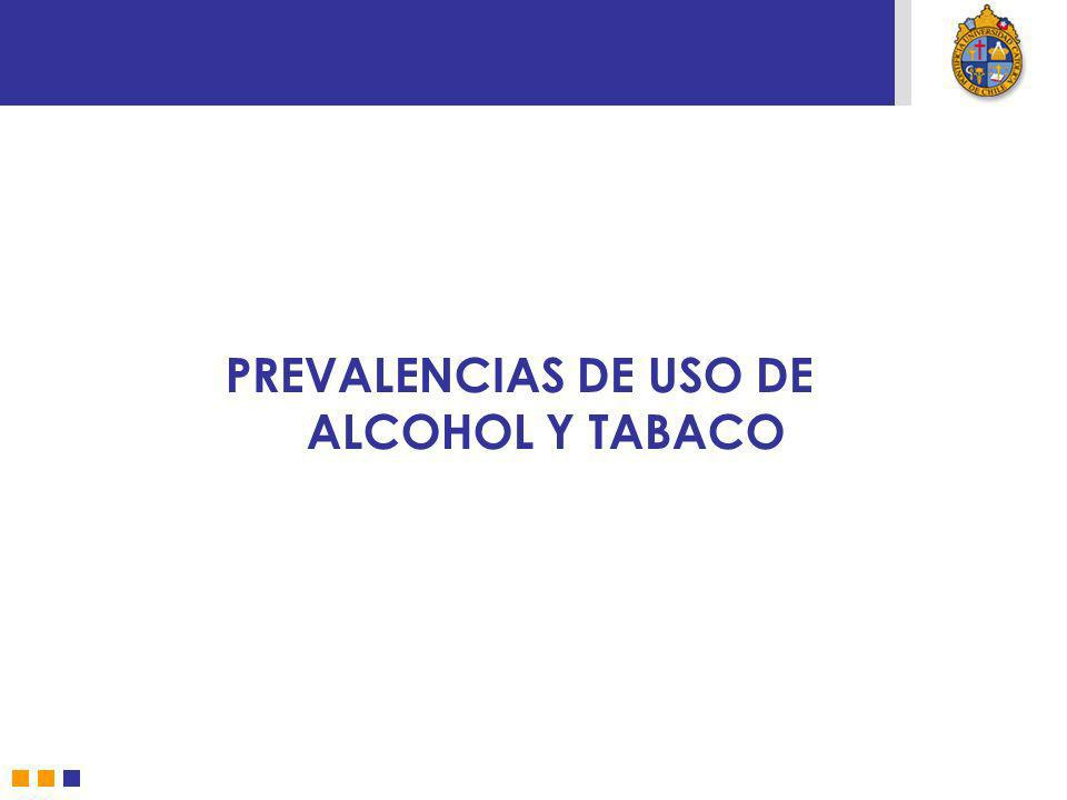 PREVALENCIAS DE USO DE ALCOHOL Y TABACO