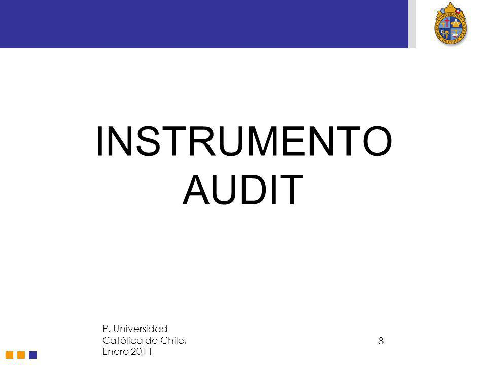 INSTRUMENTO AUDIT P. Universidad Católica de Chile, Enero 2011