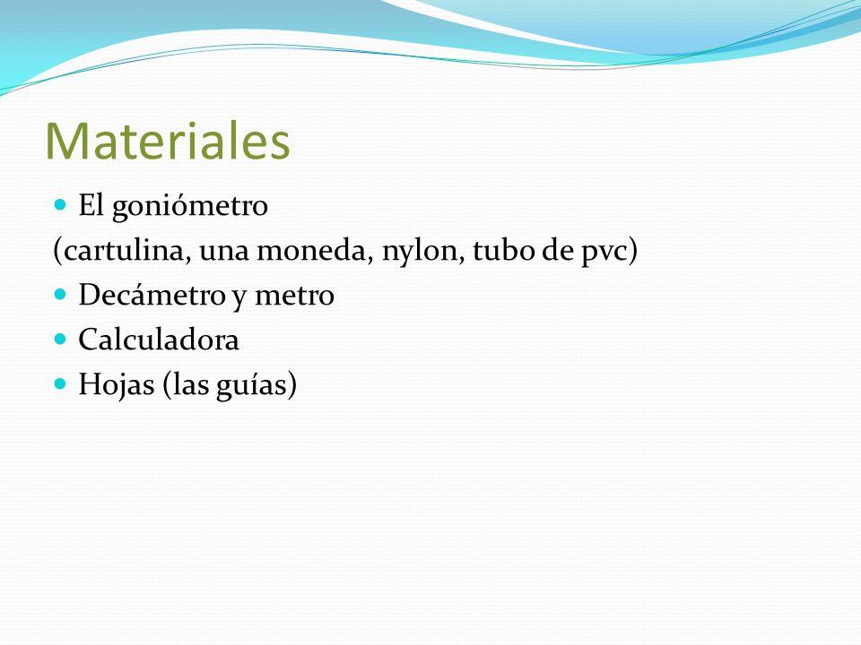Materiales El goniómetro (cartulina, una moneda, nylon, tubo de pvc)