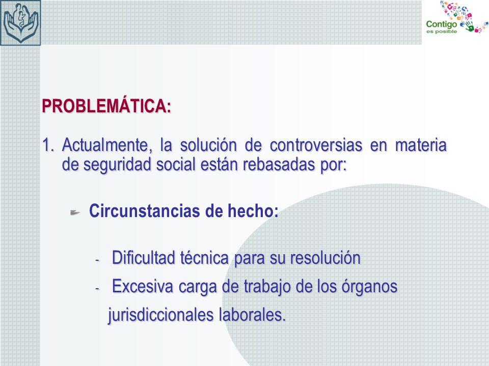 PROBLEMÁTICA:Actualmente, la solución de controversias en materia de seguridad social están rebasadas por:
