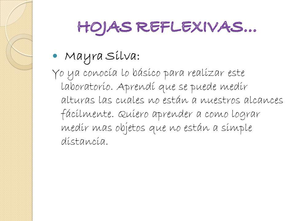 HOJAS REFLEXIVAS… Mayra Silva: