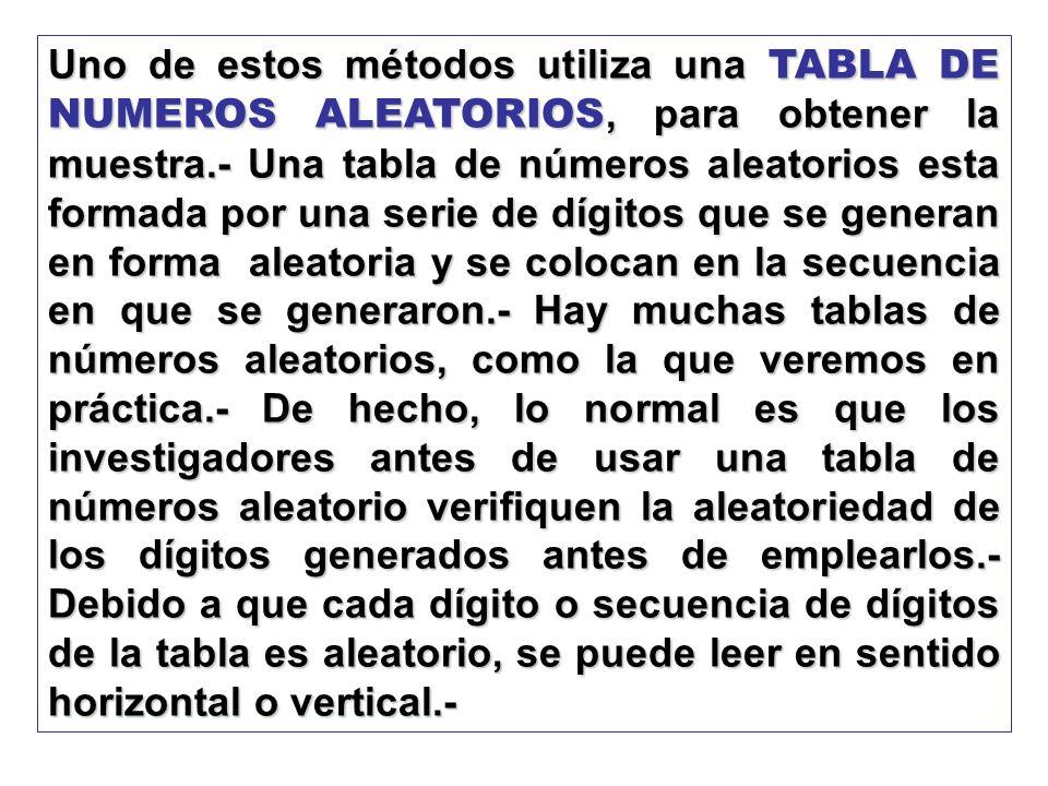 Uno de estos métodos utiliza una TABLA DE NUMEROS ALEATORIOS, para obtener la muestra.- Una tabla de números aleatorios esta formada por una serie de dígitos que se generan en forma aleatoria y se colocan en la secuencia en que se generaron.- Hay muchas tablas de números aleatorios, como la que veremos en práctica.- De hecho, lo normal es que los investigadores antes de usar una tabla de números aleatorio verifiquen la aleatoriedad de los dígitos generados antes de emplearlos.- Debido a que cada dígito o secuencia de dígitos de la tabla es aleatorio, se puede leer en sentido horizontal o vertical.-