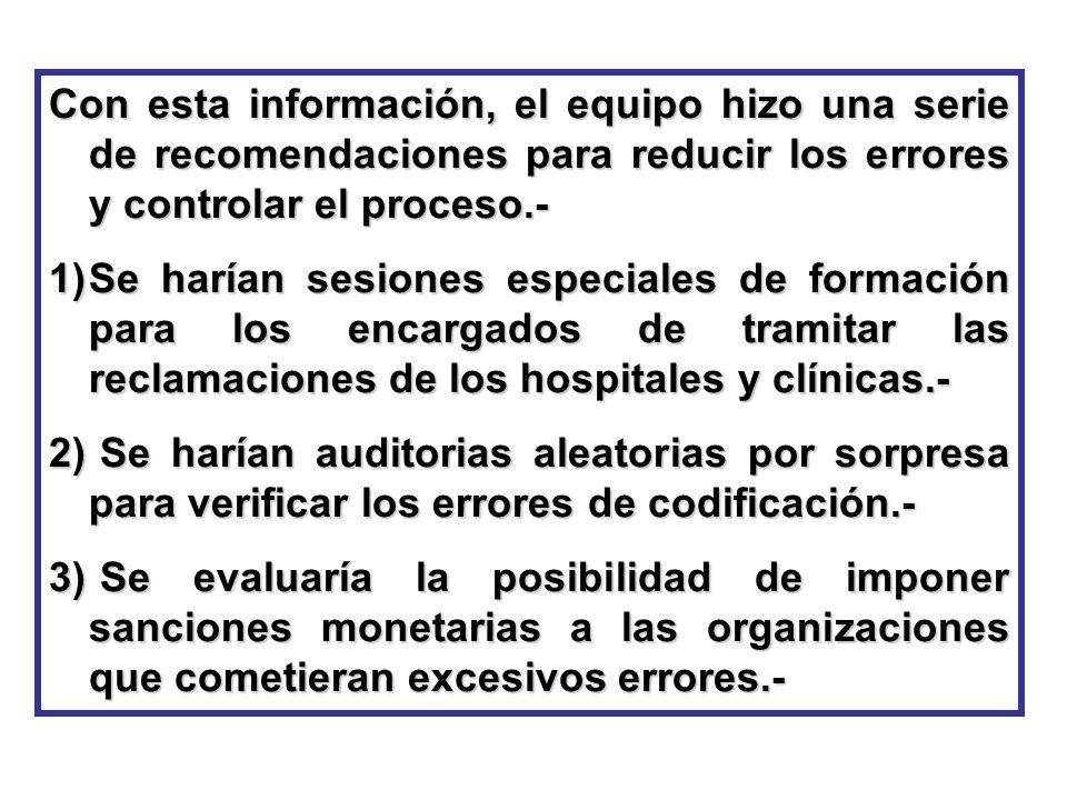 Con esta información, el equipo hizo una serie de recomendaciones para reducir los errores y controlar el proceso.-