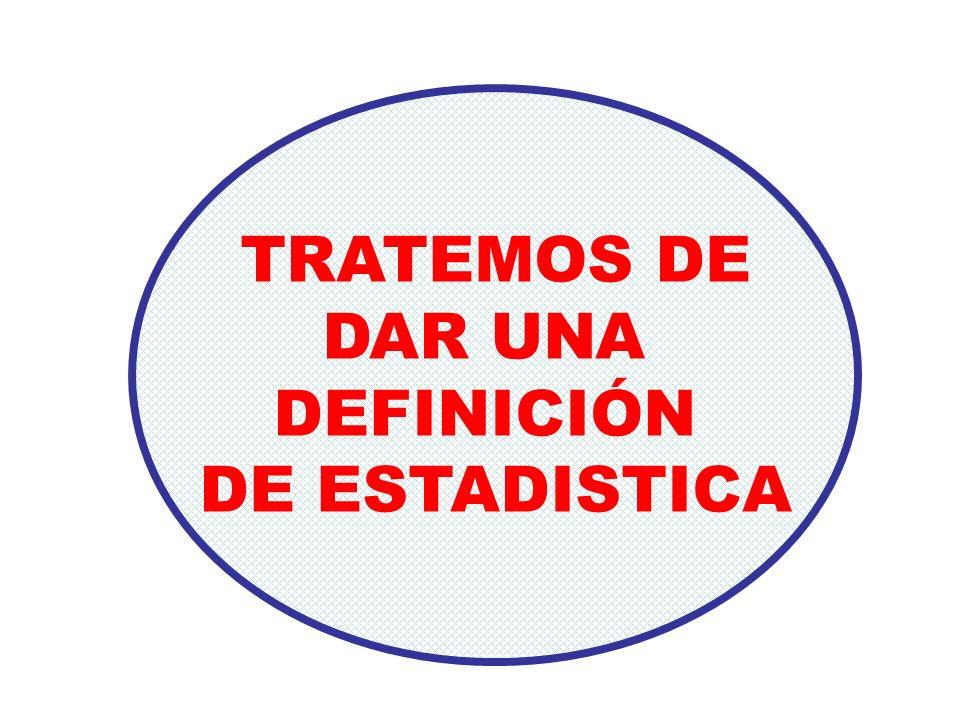 TRATEMOS DE DAR UNA DEFINICIÓN DE ESTADISTICA