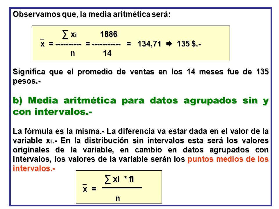 b) Media aritmética para datos agrupados sin y con intervalos.-