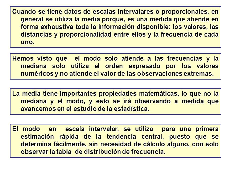 Cuando se tiene datos de escalas intervalares o proporcionales, en general se utiliza la media porque, es una medida que atiende en forma exhaustiva toda la información disponible: los valores, las distancias y proporcionalidad entre ellos y la frecuencia de cada uno.