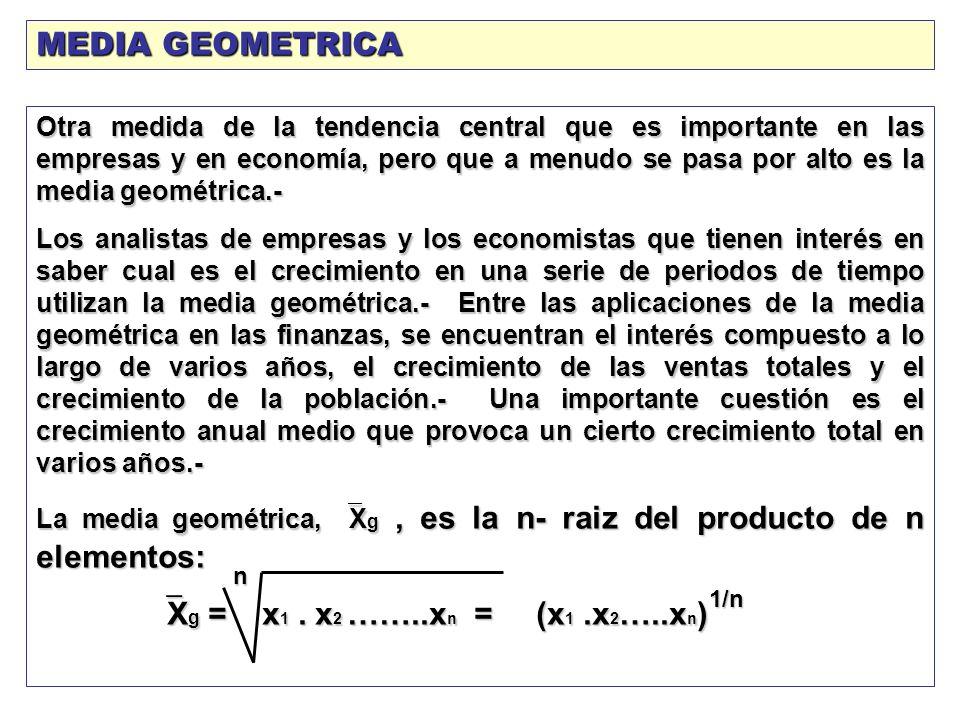 MEDIA GEOMETRICA Xg = x1 . x2 ……..xn = (x1 .x2…..xn)