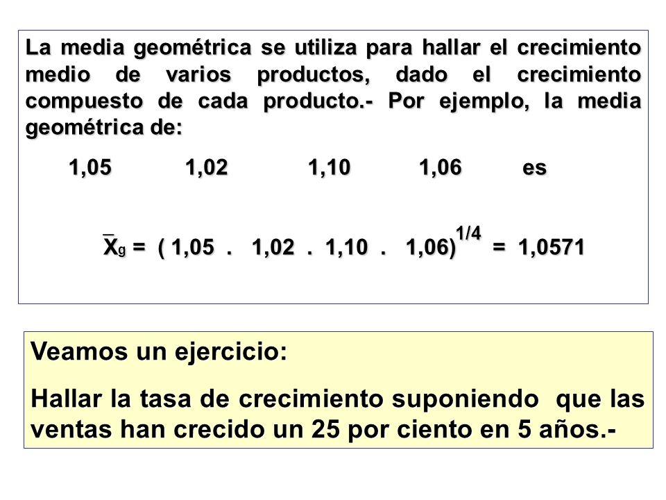La media geométrica se utiliza para hallar el crecimiento medio de varios productos, dado el crecimiento compuesto de cada producto.- Por ejemplo, la media geométrica de: