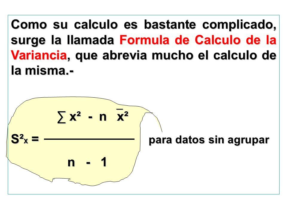 Como su calculo es bastante complicado, surge la llamada Formula de Calculo de la Variancia, que abrevia mucho el calculo de la misma.-
