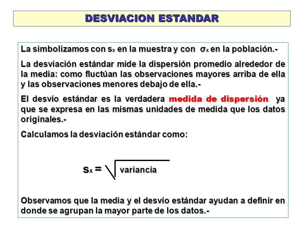 DESVIACION ESTANDARLa simbolizamos con sx en la muestra y con σx en la población.-