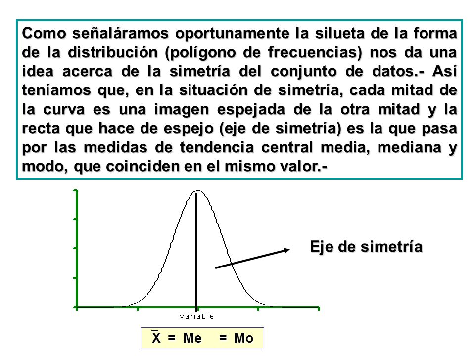 Como señaláramos oportunamente la silueta de la forma de la distribución (polígono de frecuencias) nos da una idea acerca de la simetría del conjunto de datos.- Así teníamos que, en la situación de simetría, cada mitad de la curva es una imagen espejada de la otra mitad y la recta que hace de espejo (eje de simetría) es la que pasa por las medidas de tendencia central media, mediana y modo, que coinciden en el mismo valor.-