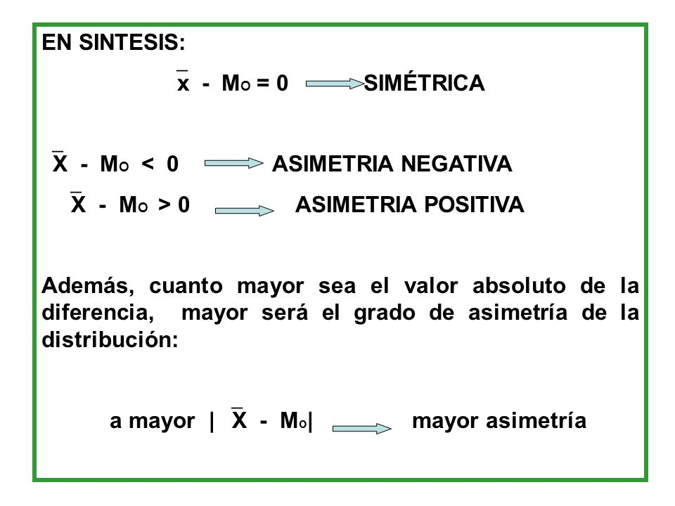 EN SINTESIS:x - MO = 0 SIMÉTRICA. X - MO < 0 ASIMETRIA NEGATIVA. X - MO > 0 ASIMETRIA POSITIVA.