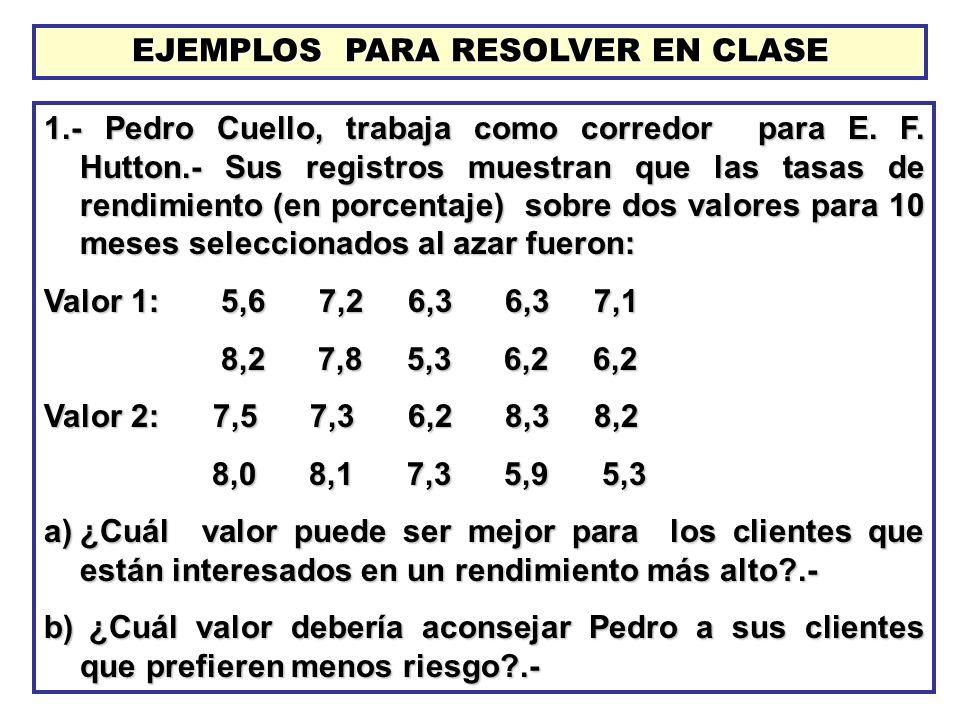 EJEMPLOS PARA RESOLVER EN CLASE
