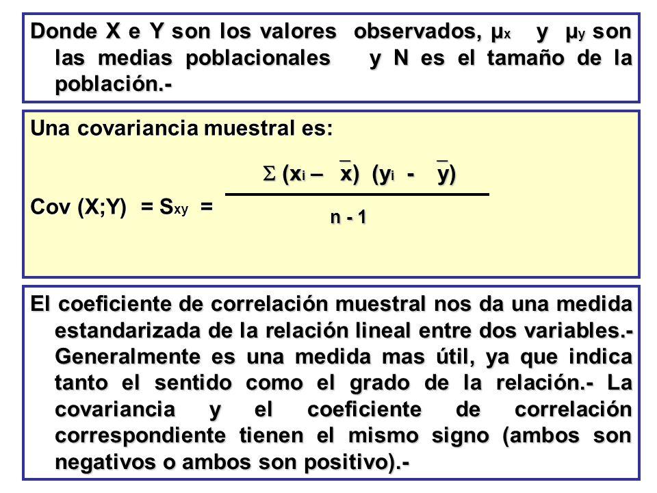 Una covariancia muestral es: