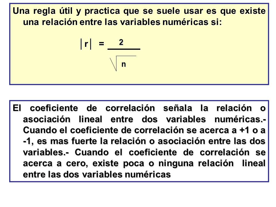 Una regla útil y practica que se suele usar es que existe una relación entre las variables numéricas si: