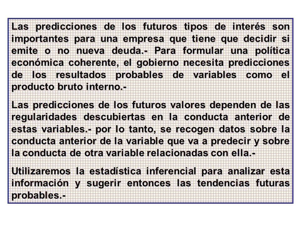 Las predicciones de los futuros tipos de interés son importantes para una empresa que tiene que decidir si emite o no nueva deuda.- Para formular una política económica coherente, el gobierno necesita predicciones de los resultados probables de variables como el producto bruto interno.-