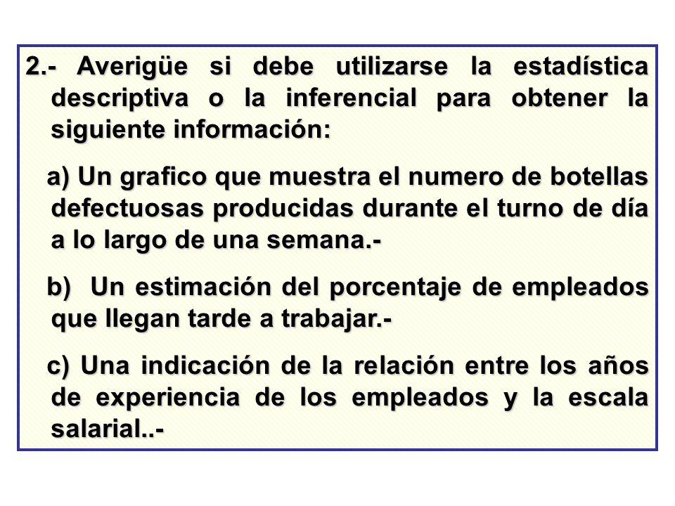 2.- Averigüe si debe utilizarse la estadística descriptiva o la inferencial para obtener la siguiente información: