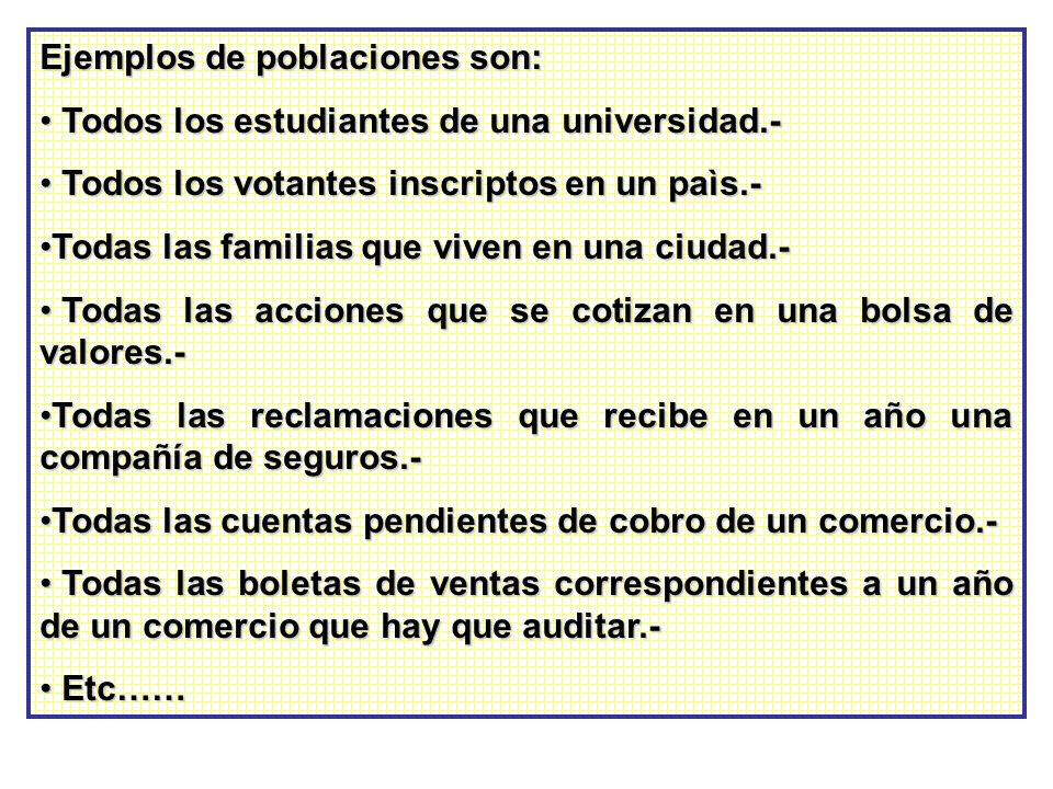 Ejemplos de poblaciones son: