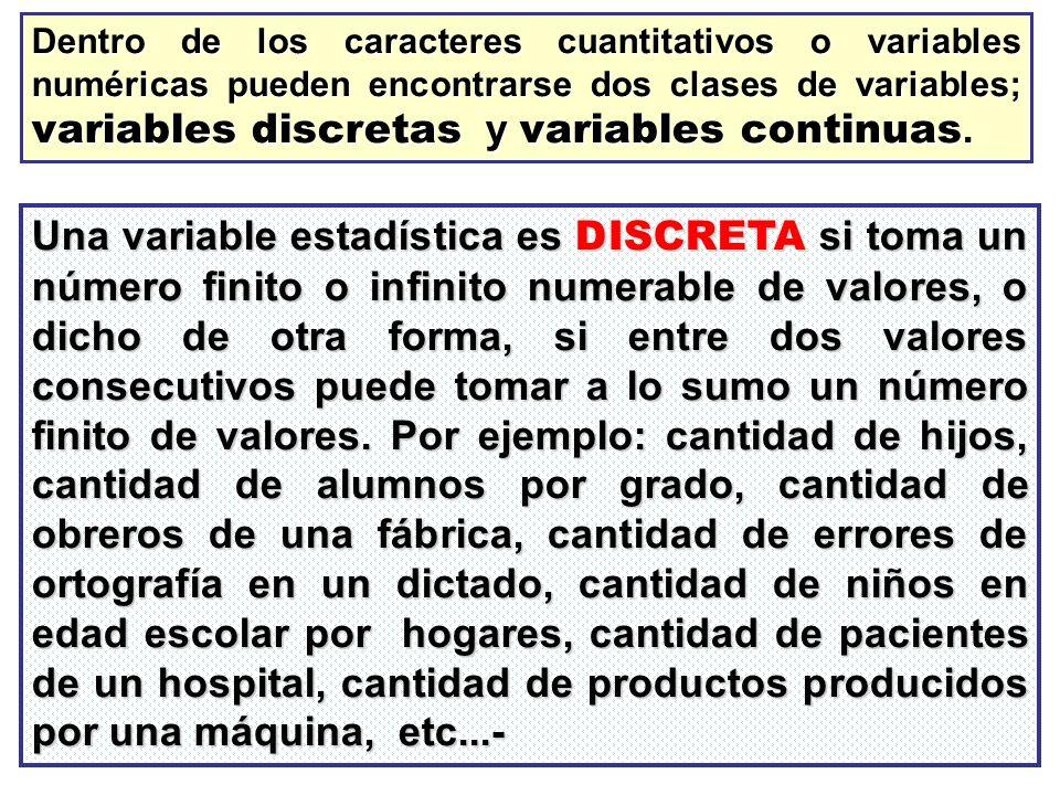 Dentro de los caracteres cuantitativos o variables numéricas pueden encontrarse dos clases de variables; variables discretas y variables continuas.