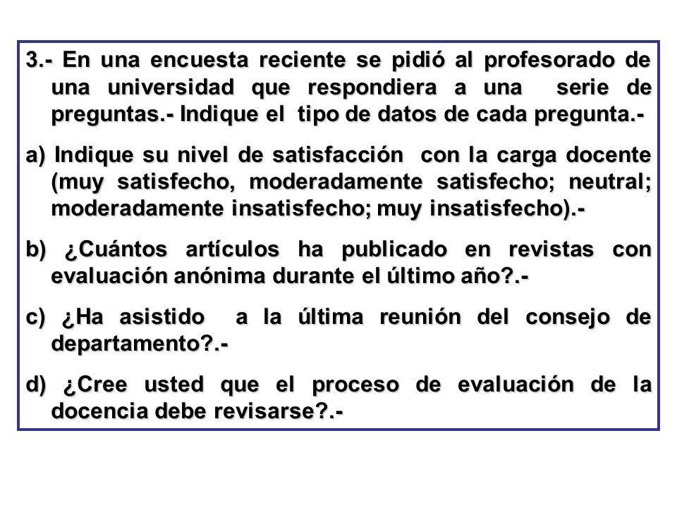 3.- En una encuesta reciente se pidió al profesorado de una universidad que respondiera a una serie de preguntas.- Indique el tipo de datos de cada pregunta.-