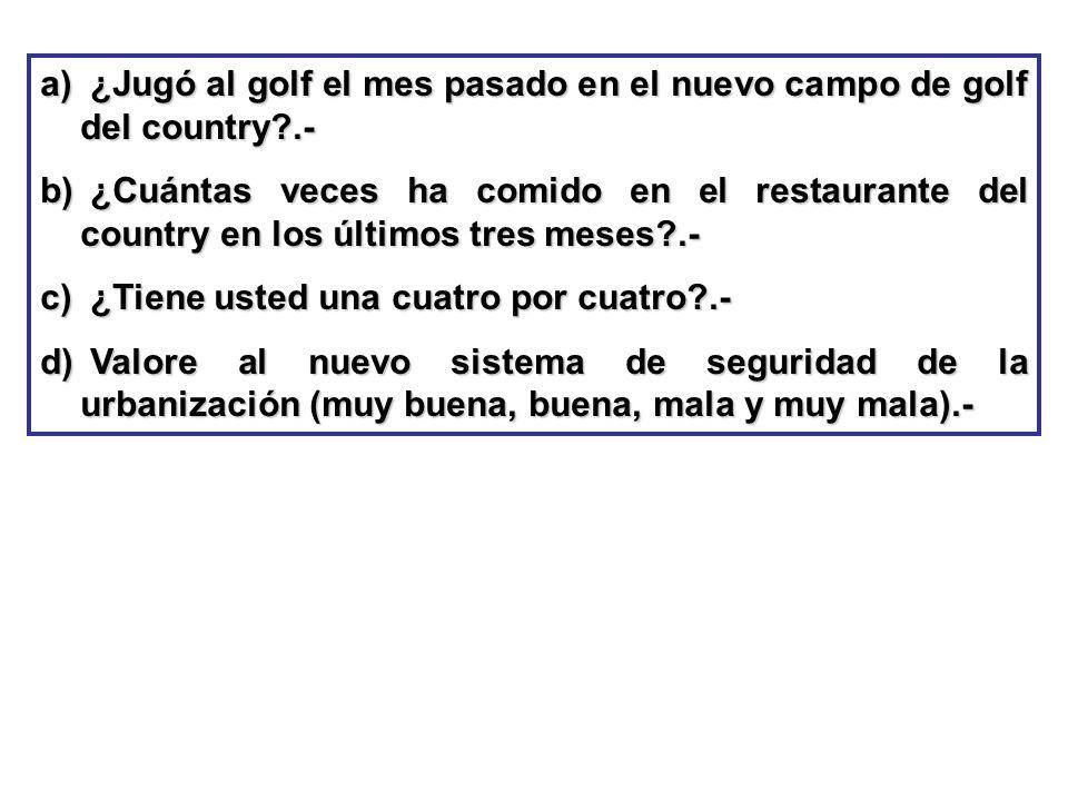 ¿Jugó al golf el mes pasado en el nuevo campo de golf del country .-