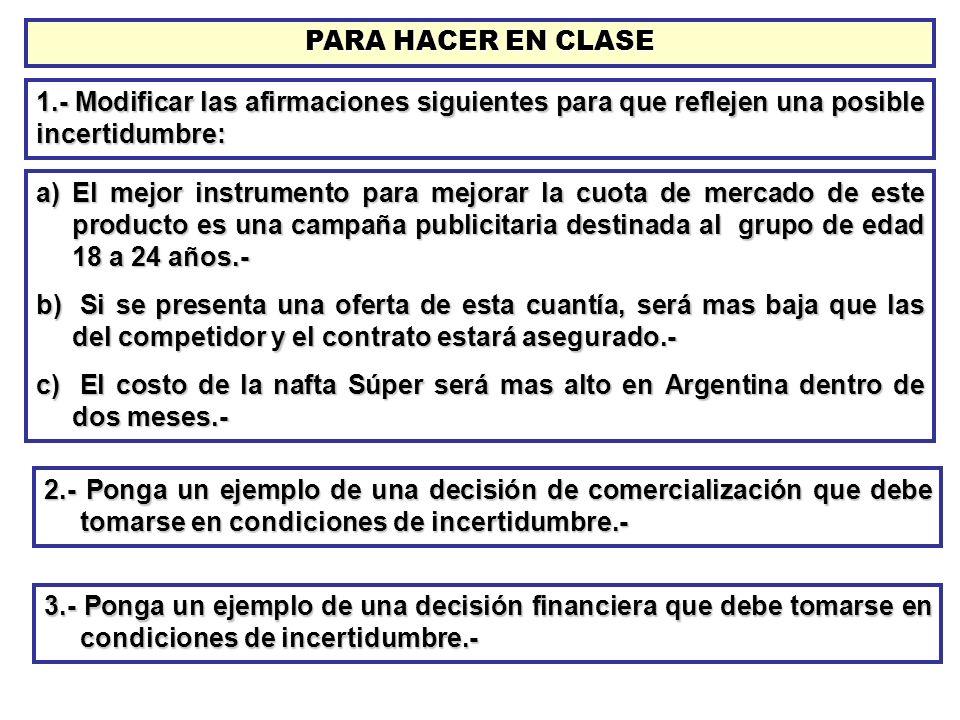 PARA HACER EN CLASE 1.- Modificar las afirmaciones siguientes para que reflejen una posible incertidumbre: