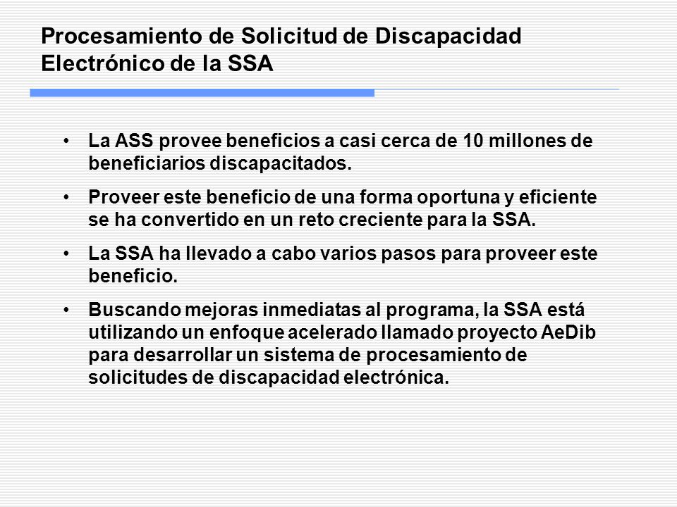 Procesamiento de Solicitud de Discapacidad Electrónico de la SSA