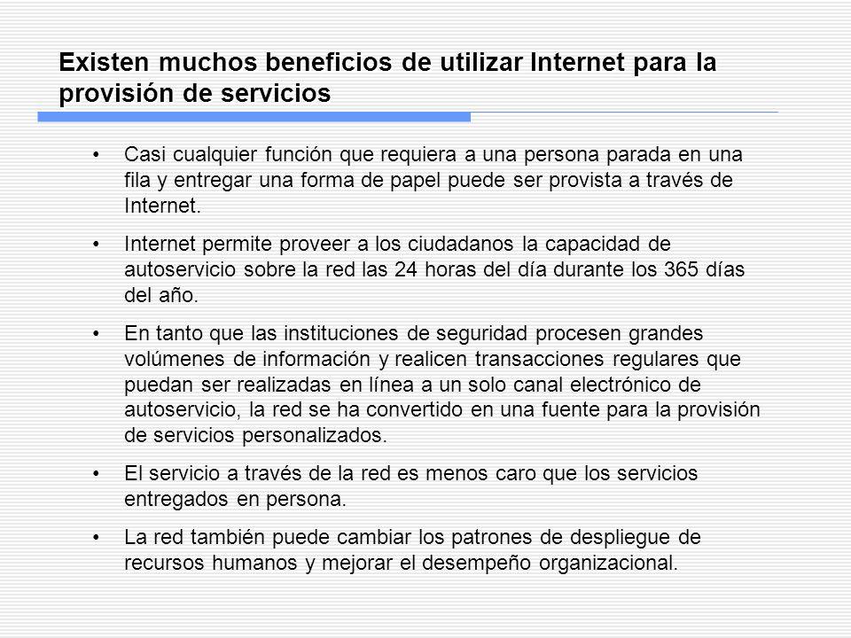 Existen muchos beneficios de utilizar Internet para la provisión de servicios