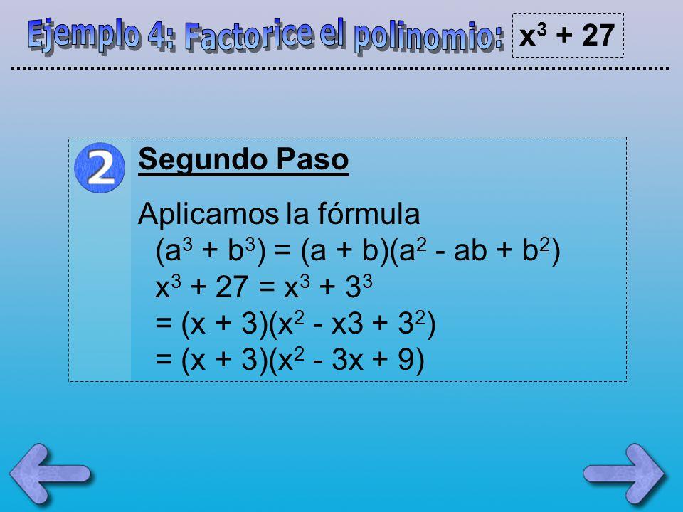 Ejemplo 4: Factorice el polinomio: