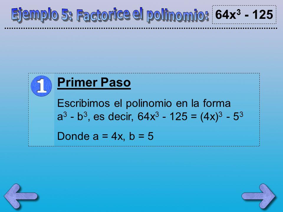 Ejemplo 5: Factorice el polinomio: