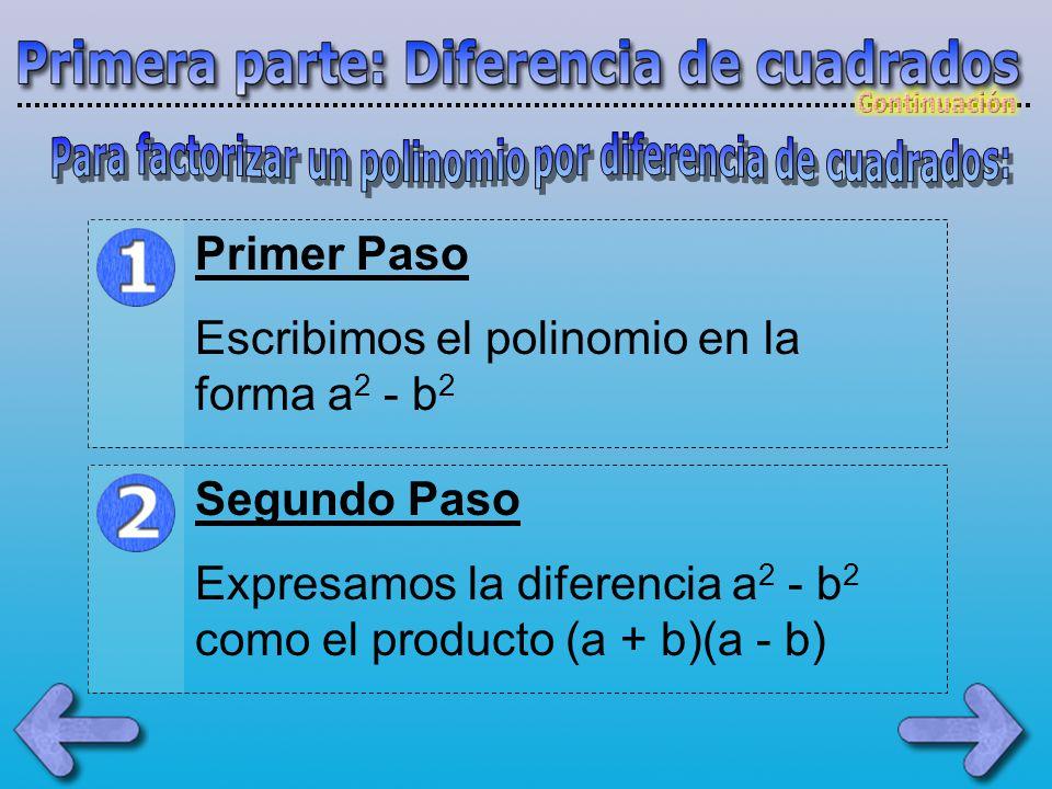 Para factorizar un polinomio por diferencia de cuadrados: