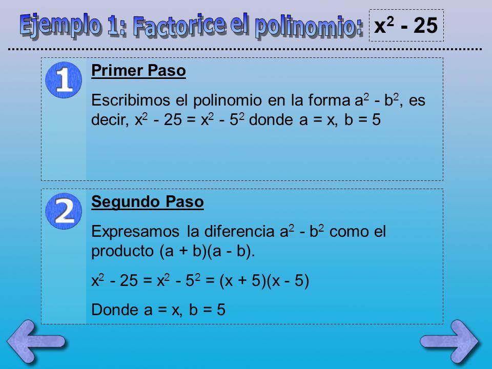 Ejemplo 1: Factorice el polinomio: