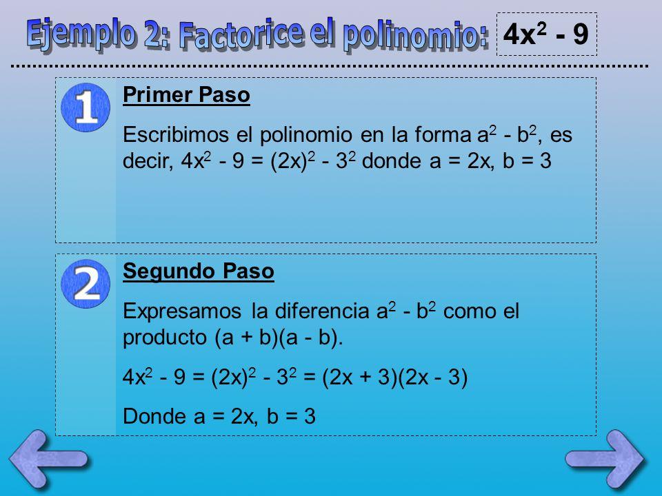 Ejemplo 2: Factorice el polinomio: