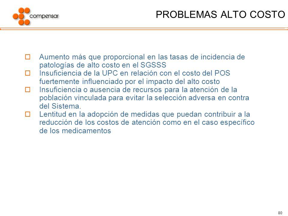PROBLEMAS ALTO COSTO Aumento más que proporcional en las tasas de incidencia de patologías de alto costo en el SGSSS.