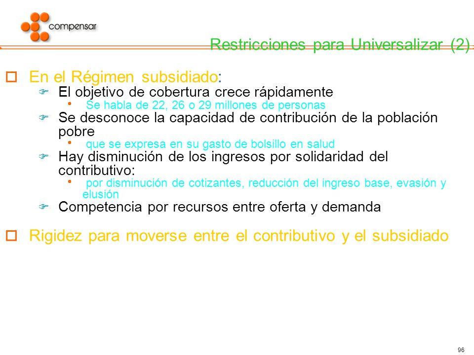 Restricciones para Universalizar (2)