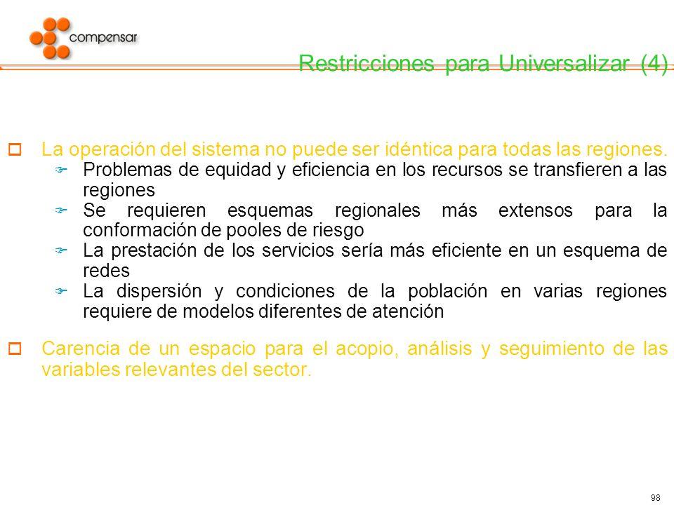 Restricciones para Universalizar (4)