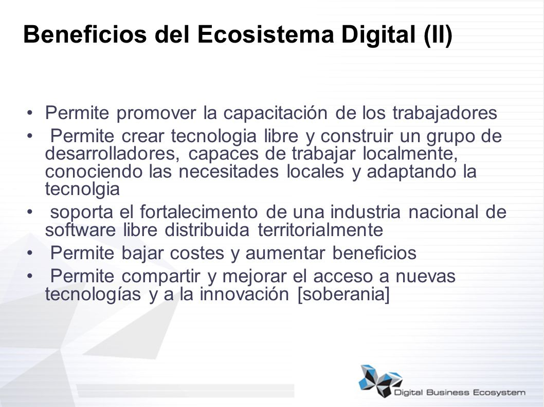 Beneficios del Ecosistema Digital (II)