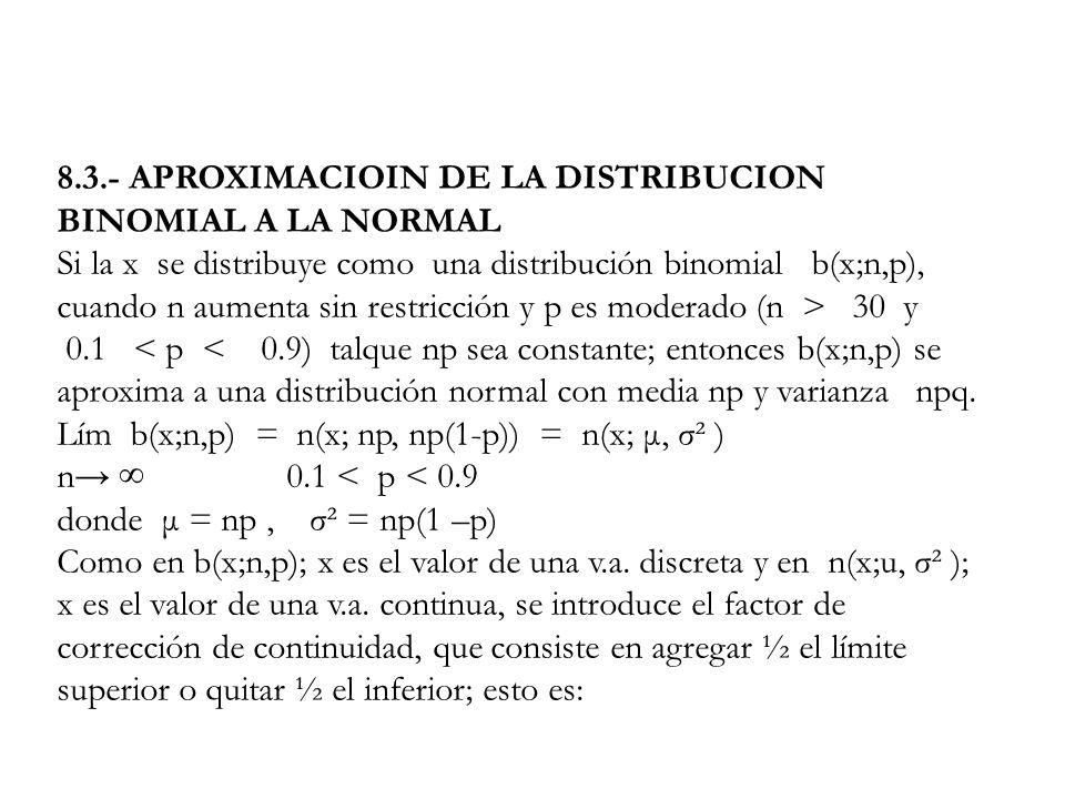 8.3.- APROXIMACIOIN DE LA DISTRIBUCION BINOMIAL A LA NORMAL