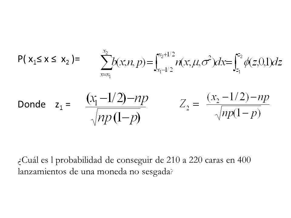 P( x1≤ x ≤ x2 )= Donde z1 = ¿Cuál es l probabilidad de conseguir de 210 a 220 caras en 400 lanzamientos de una moneda no sesgada